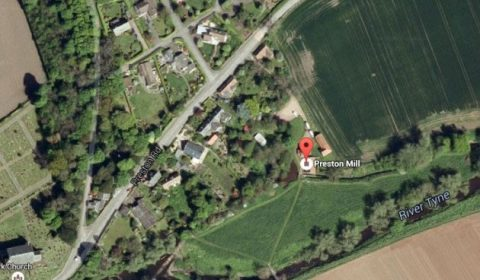 Preston Mill & Phantassie Doocot site seen from above with neighboring village and infrastructure. Image via Google Maps