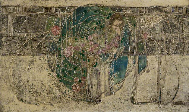 """Sleeping Princess"" gesso at The Hill House by Margaret MacDonald"